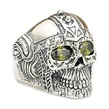 Sterling Silver Black Olive Eyes Skull Men's Ring