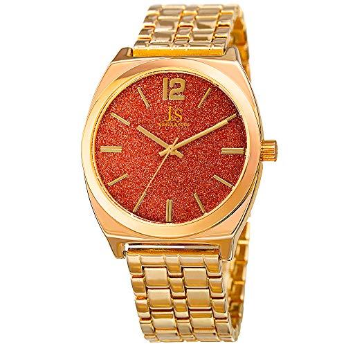 Joshua & Sons Men's Stainless Steel Bracelet Watch - Glossy Orange Sand Stone Dial, Gold Tone Chain Link Strap, Tonneau Shaped Case - - Watch Case Tonneau