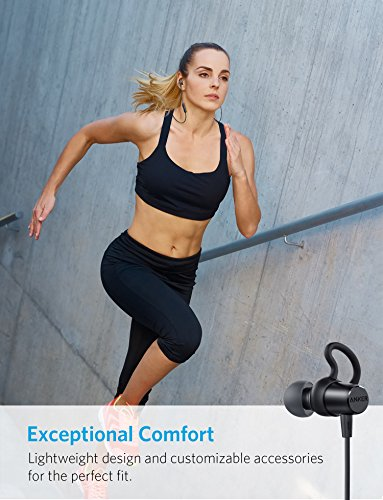 Anker SoundBuds Surge Lightweight Wireless Headphones, Bluetooth 4.1 Sports Earphones with Water-Resistant Nano Coating, Running Workout Headset with Magnetic Connector and Carry Pouch