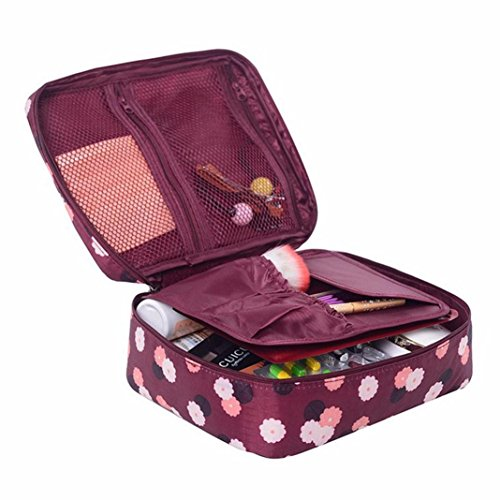 Makeup Toiletry Case,IEason Travel Cosmetic Makeup Toiletry Case Bag Wash Organizer Storage Pouch Handbag (Red)