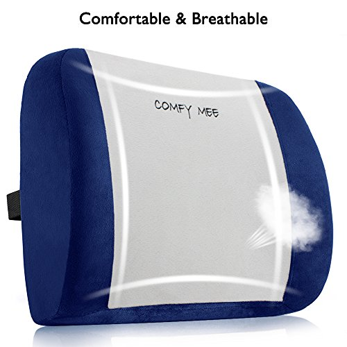 Price comparison product image Comfy Mee Memory Foam 3d Ventilative Lumbar Support Cushion Back Cushion - Alleviates Lower Back Pain (Gray+Blue)