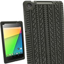 iGadgitz Black Silicone Skin Case Cover with Tire Tread Design for Asus Google Nexus 7 2013 FHD Android Tablet 16GB 32GB 4G LTE 2nd Generation released August 2013 + Screen Protector (Not suitable for the 1st Gen launched in July 2012)
