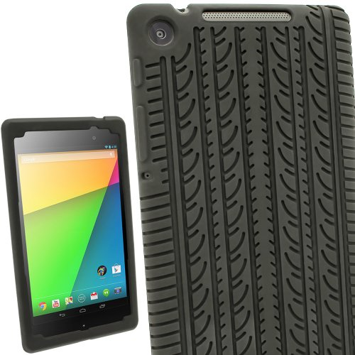 iGadgitz U2612 Tire Tread Design Silicone Skin Case Cover with Screen Protector Compatible with Asus Google Nexus 7 FHD Android Tablet 16GB 32GB 4G LTE Model 2nd Gen Released August 2013 - Black (Best Case For Nexus 7 1st Gen)
