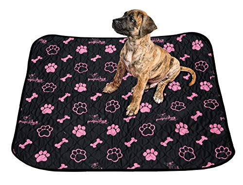 - PUPWHIZ Washable Pee Pads for Dogs | Reusable Urine Incontinence XL Mats 30x36 | 2 Pack for Potty Training and Whelping in Playpen & Kennel Crate | Ideal for Bowls Placemat & Pet Feeding (Black&Pink)