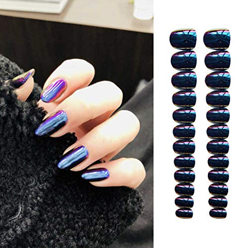 Evazen 24Pcs Different Color Metallic Mirror Effect Coffin Ballerina False Nail Medium 3D Alloy Press On Nails Full Cover False Nails for Women (Purple)