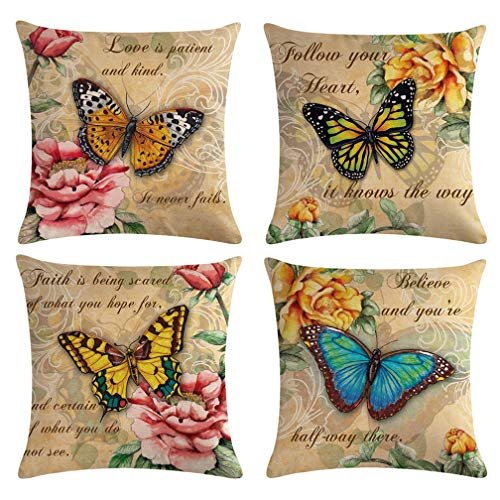 """Butterfly Pattern Throw Pillow Covers Vintage Style Home Decorative Cushion Cover Yellow&Pink Flowers with Quote Pillowcase 18""""×18"""",4Pack (Butterfly Pattern) ()"""