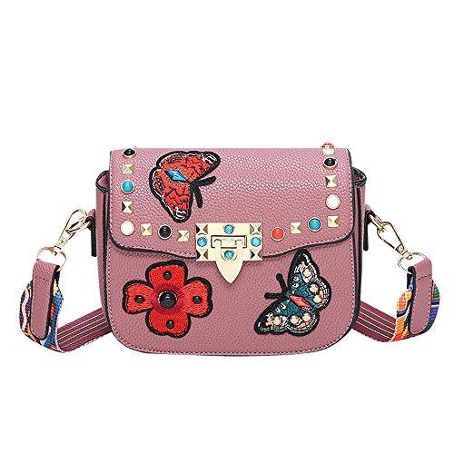 Damen Handtasche Rosa mit Patch Stickerei Umhängetasche Boho Strap