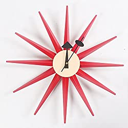 HHYS H663 Sunburst Wooden Red Wall Clock Mid Century Handmade Antique Retro Danish Nelson Style