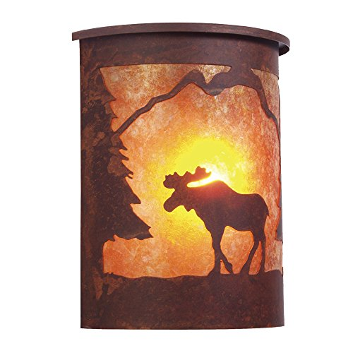 Steel Partners Lighting 9255 Ab Moose Willapa Sconce With Amber Mica Lens  Architectural Bronze Finish
