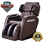 iLory Relax Massage Chair Recliner Zero Gravity & Air Massage, Foot Roller, Shiatsu Recliner with Heater to Relieve Neck Shoulder Waist Back Pain (Black and Brown)