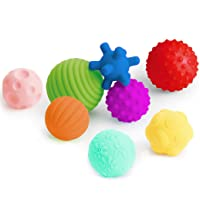 Coolle- Textured Multi Ball Set, Tactile Sensory Ball, Bath Balls Toys, Baby Grab Ball, Sensory Balls for Toddlers Babies Infants Kid Children Boys Girls Ages 6M+ with Bright Colors & Squeaks 8 Pack
