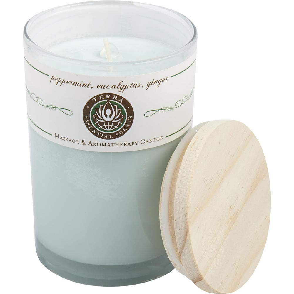 Peppermint, Eucalyptus & Ginger by MASSAGE & AROMATHERAPY SOY CANDLE 12 OZ TU. (Package of 3)