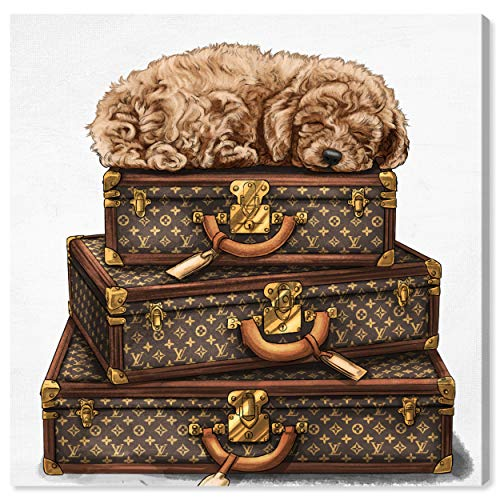 The Oliver Gal Artist Co. Oliver Gal 'Sleeping Poodle' Brown Fashion Dogs and Puppies Wall Art Print Premium Canvas, 20