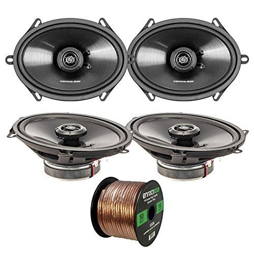 Car Speaker Package Of 2 Pairs of Lightning Audio by Rockford Fosgate L57 5x7-Inch 3-Way 70-Watt Black Full Range 4 OHM Car Coaxial Speakers Bundle Combo With Enrock 50 Foot 16 Gauge Speaker Wire