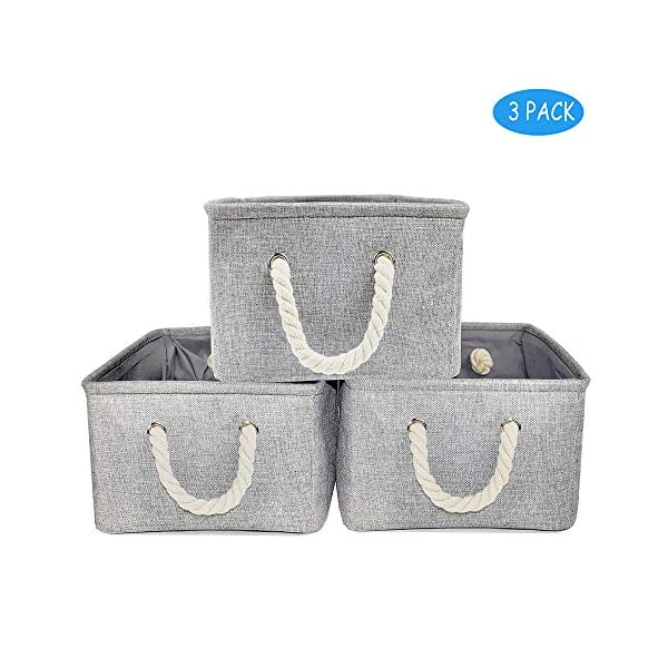 Silanto Fabric Storage Organizer Bins 3-Pack Decorative Baskets for Storage Toys Books Closets (Grey, 14.2×10.2×6.1in)