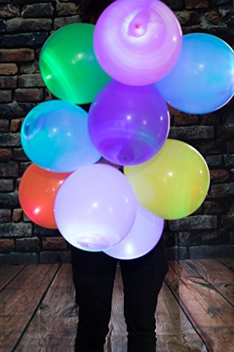 LED Light up Balloons 15 Mixed color Party Pack by ALCHEMY PARTY (White Glow In The Dark Balloons)