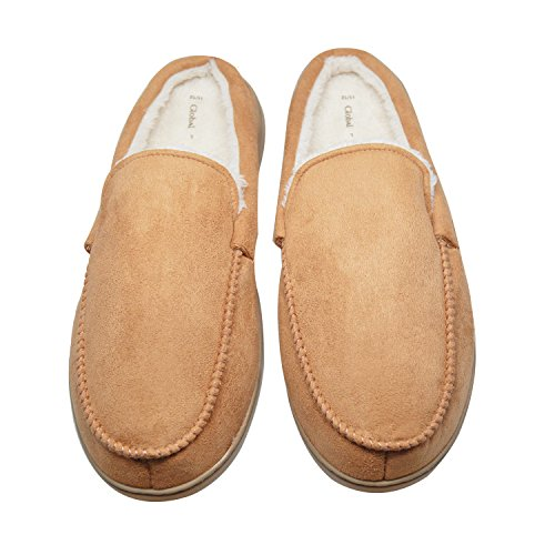 Indoor Suede Slip Shoes Men's Khaki Warm Clog Lined Plush Micro Moccasin No Slippers vq5UwBZOnq