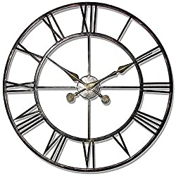 Infinity Instruments Iron Tower 30 Inch Greyish Green Metal Wall Clock