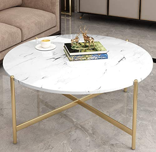HOOSENG Coffee Table Faux Marble Round AccentTable