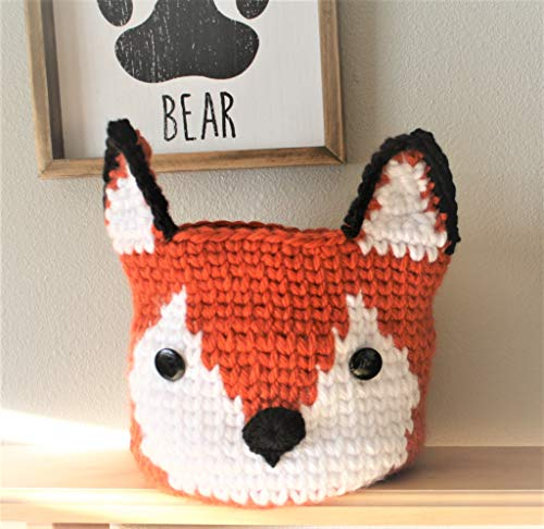 Crochet Red Fox Basket Woodland Nursery Decor Organizer -