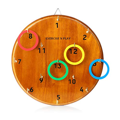Ring Toss, Hook Ring Toss Game, Mens Birthday Gifts for Dad or Boys, Fun Indoor Outdoor Yard Family Games for Adults Kids, Just Hang and Start Play, Safer than Darts and Easy to Set-Up for a Man Cave