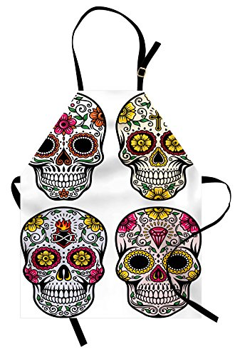 Ambesonne Day of The Dead Apron, Dia de Los Muertos Festive Celebration Skull Artwork Image, Unisex Kitchen Bib Apron with Adjustable Neck for Cooking Baking Gardening, Yellow White
