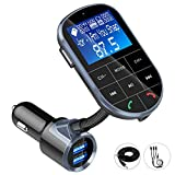 Bluetooth FM Transmitter, IEhotti Big Screen Car Bluetooth Radio Adapter Full FM Car Kit w/3 USB Ports[Fast Charge], HandsFree Calling,Support Bluetooth/U Disk/AUX/TF-Card, Extra 3-in-1 Charging Cable