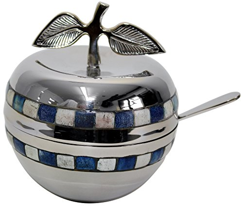 Majestic Giftware HD510 Honey Dish with Blue/White Stone and Glass Insert, 5-Inch, (Rosh Hashana Honey)