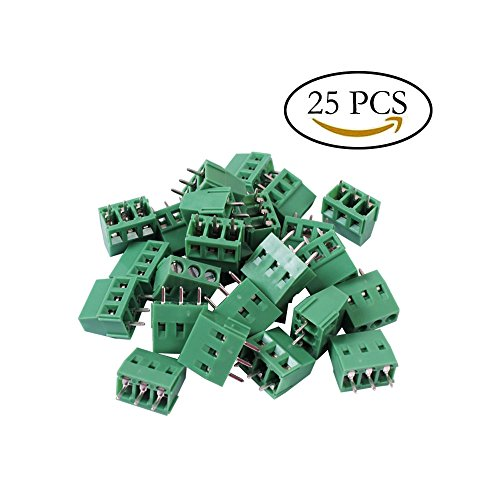 Teenitor Top Quality 25 Pcs 3 Pin 5.08mm Pitch PCB Mount Screw Terminal Block AC 250V 8A (3 Pin Terminal Block)