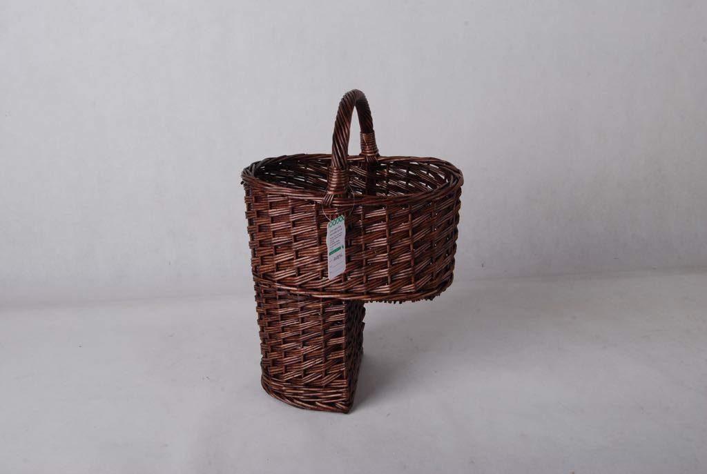 MHDIST UAREHOME Oval Wicker Stair Basket with handle - Brown or White Colour (Brown)