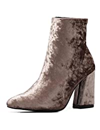 Womens Suede Simple Style High Heel Ankle Boots,Suede Brown,5.5 D(M) US
