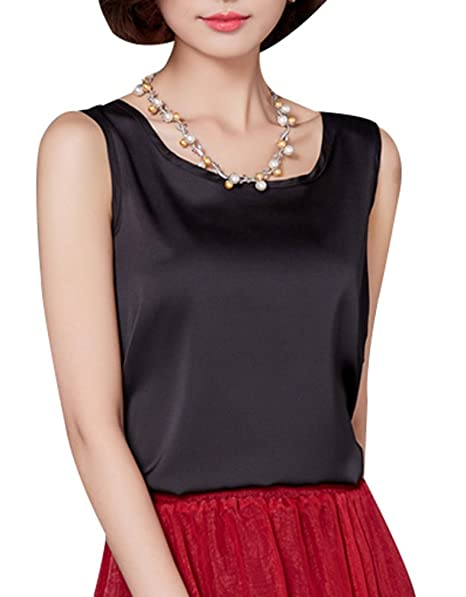 26d7f9adb1b4a3 Yasong Women Girls Silk Feel Plain Sleeveless Shirt Vest Top  Amazon.co.uk   Clothing