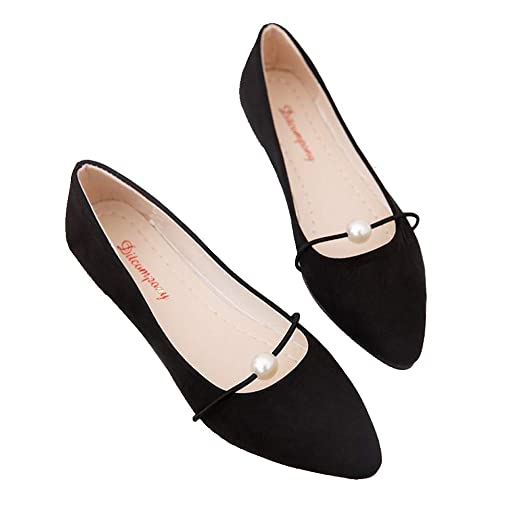 5c592bfcf Women's Casual Comfort Faux Suede Pointed Toe Pearl Ballet Slip On Flats  Shoes Fashion Sandals (