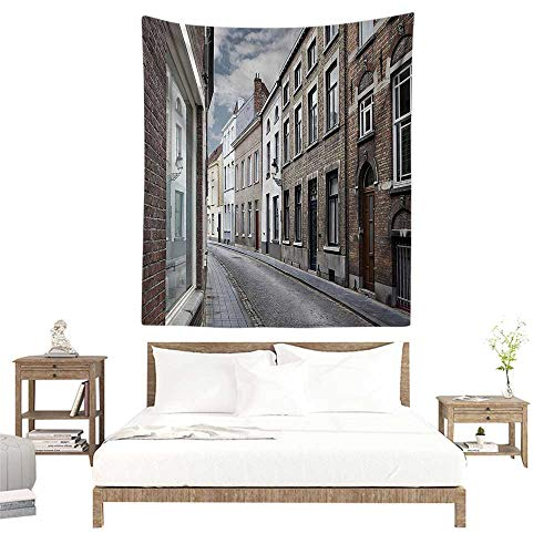 alisoso Wall Tapestries Hippie,Wanderlust Decor Collection,Cityscape of Bruges Streets Belgium Architecture Cobblestone Town Scene,Gray White W51 x L60 inch Tapestry Wallpaper Home Decor