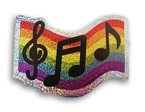(Teaching Tree Music Notes Treble Clef Paper Cut-Outs Rainbow Sparkle - 10 pieces)