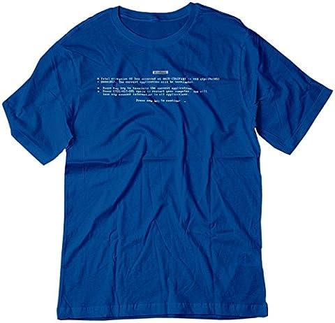 BSW Men's Microsoft Windows BLUE SCREEN of Death Error Shirt MED Royal Blue - Dos Microsoft Windows