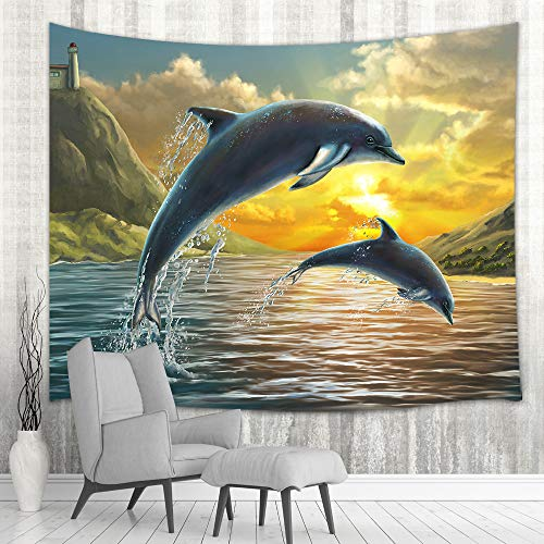 (NYMB Digital Painting Ocean Animals Wall Tapestry Art Home Decor, Two Dolphins Jumping Out of Sea Over Sunset Tapestry Wall Hanging for Bedroom Living Room Dorm Bedspread, Beach Blanket,)