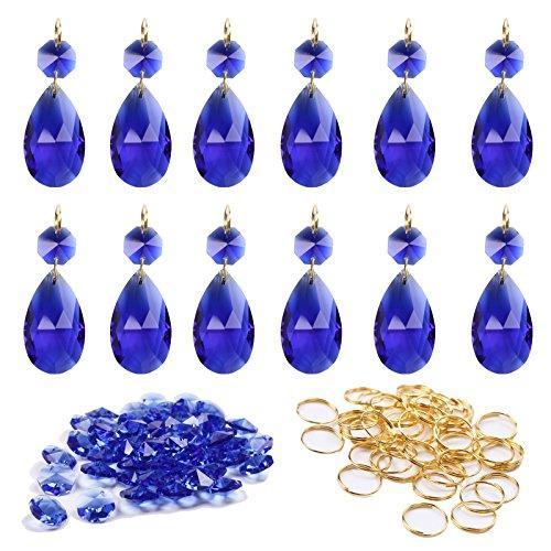 BIHRTC 12Pcs 38mm Glass Crystal Chandelier Pendants Teardrop Prisms Beads DIY Ceiling Lamp Accessories + 50pcs Metal Split Ring + 50pcs 14mm Octagonal Beads (Dark (Lamp Bead)
