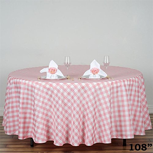 BalsaCircle 108-Inch Rose Quartz Pink Round Gingham Checkered Polyester Tablecloth Table Linens Wedding Party Events -