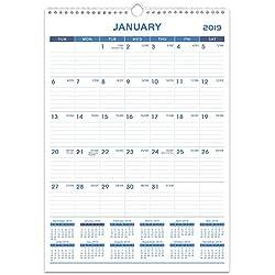 """2019 Wall Calendar - Calendar Planner 2019, 12"""" x 17"""", Medium, Wirebound, Ruled Block"""