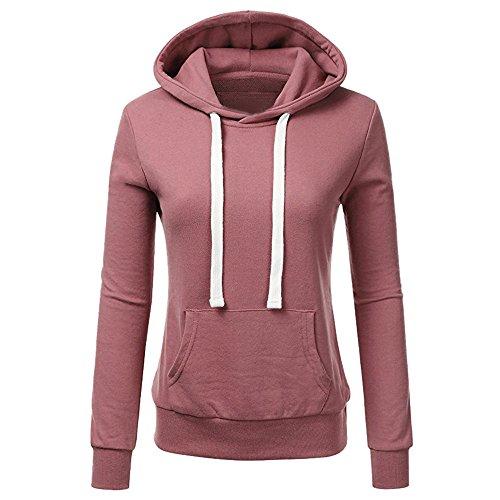 Sunmoot Womens Kangaroo Pocket Hoodie Drawstring Pullover Hooded Top Slim Stripe Sweatshirt Fashion Long Sleeve -