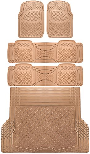 OxGord 5pc Rear Set Diamond Rubber Floor Mats, Universal Fit Mat for SUVs Vans- Rear Driver Passenger Side, Rear Runners and Trunk Liner Beige