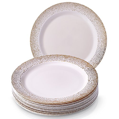 Silver Spoons 1849 Heavyweight Plastic Dishes 20 Piece Party Disposable Dinnerware Set, White with Gold