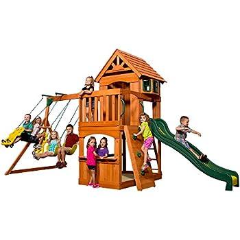 Amazon Com Backyard Discovery Atlantis All Cedar Wood Playset Swing