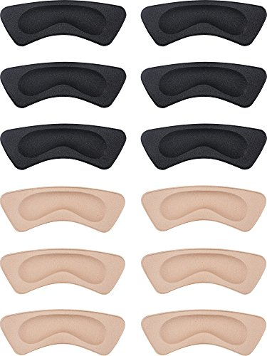 Hotop 6 Pairs Heel Cushion Pads Heel Shoe Grips Liner Self-Adhesive Shoe Insoles Foot Care Protector (Black and Khaki)