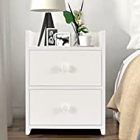 Nightstand with 2 Drawers, Wood End Table / Side Table, White