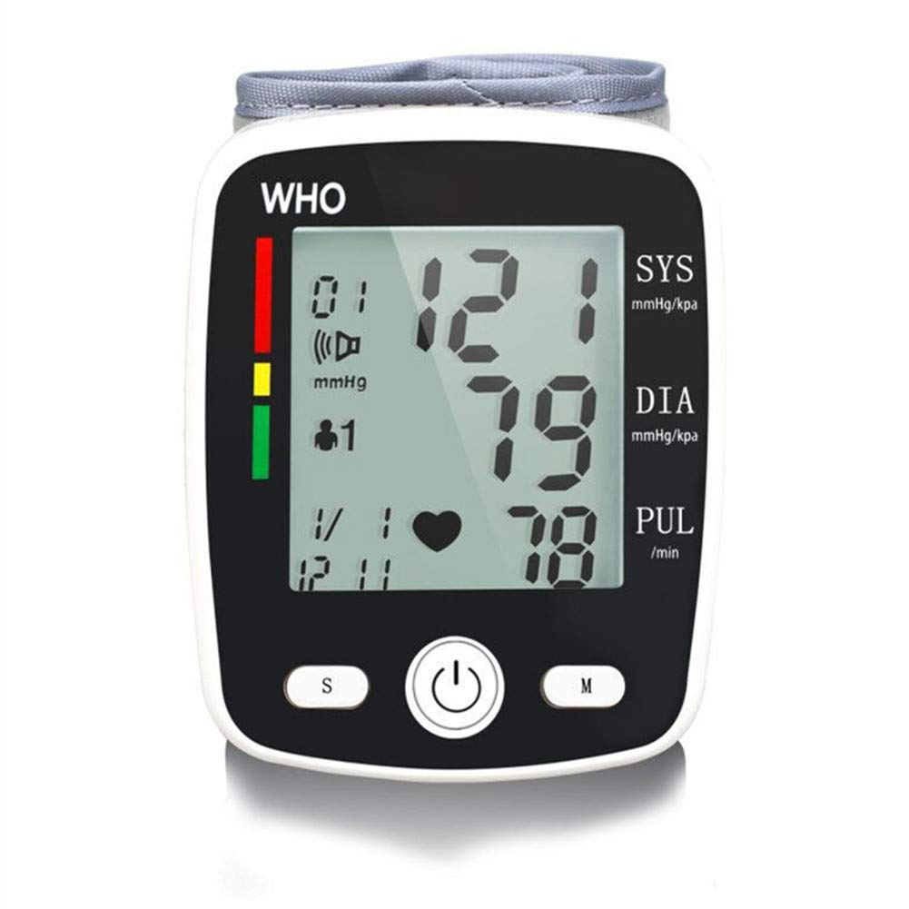 Wrist Blood Pressure Monitor with USB Charging, Automatic Digital BP Machine Portable with Irregular Heartbeat Indicator, Voice Broadcast, 2 User 180 Readings Memory Mode and Adjustable Cuff
