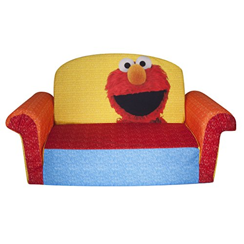 Marshmallow Furniture, Children's 2 in 1 Flip Open Foam Sofa, Sesame Street's Elmo/Sesame, by Spin Master (Is Big Bird A Boy Or Girl)