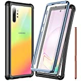 Temdan Galaxy Note 10+ Plus 5G Case Built-in Screen Protector Full Body Protect Support Wireless Charging,Heavy Duty Dropproof Case for Samsung Galaxy Note 10+ Plus/ Note10 Plus 5G 2019 (Clear/Black)