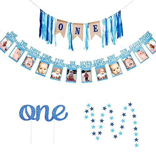 1st Birthday Boy Banner, GoodYH Baby Boy First Birthday Decorations High Chair Banner - Happy Birthday ONE Burlap Banner, First Birthday Photo Banner, Glitter Cake Topper, Blue Star Hanging Banner